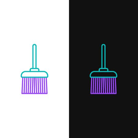 Green and purple line Handle broom icon isolated on white and black background. Cleaning service concept.  Vector Illustration
