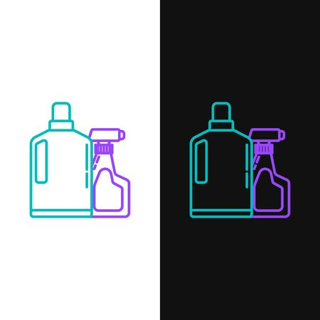 Green and purple line Plastic bottles for liquid laundry detergent, bleach, dishwashing liquid or another cleaning agent icon isolated on white and black background. Vector Illustration