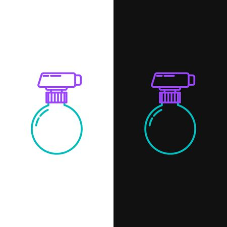 Green and purple line Cleaning spray bottle with detergent liquid icon isolated on white and black background. Vector Illustration