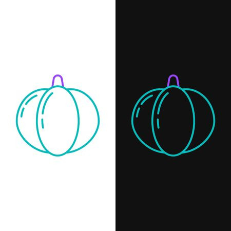 Green and purple line Pumpkin icon isolated on white and black background. Happy Halloween party. Vector Illustration