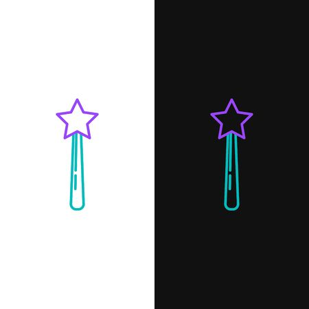 Green and purple line Magic wand icon isolated on white and black background. Star shape magic accessory. Magical power. Vector Illustration Çizim