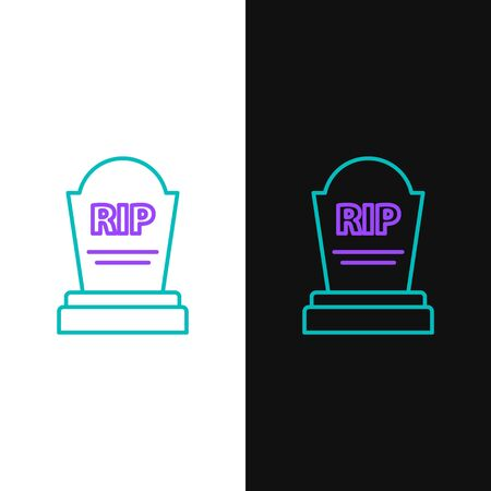 Green and purple line Tombstone with RIP written on it icon isolated on white and black background. Grave icon. Vector Illustration Stock Illustratie