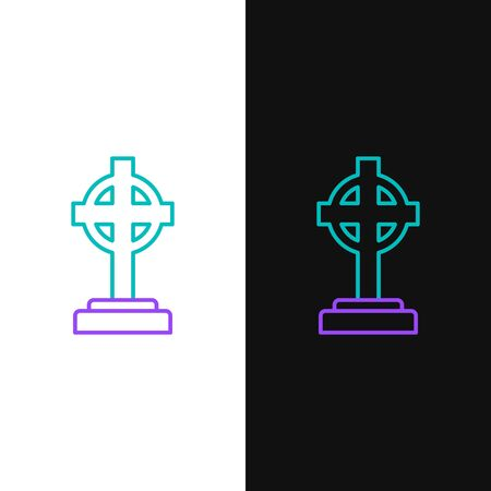 Green and purple line Tombstone with cross icon isolated on white and black background. Grave icon. Vector Illustration