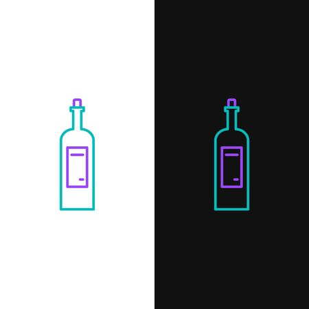 Green and purple line Bottle of wine icon isolated on white and black background. Vector Illustration