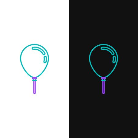 Green and purple line Balloon with ribbon icon isolated on white and black background. Vector Illustration