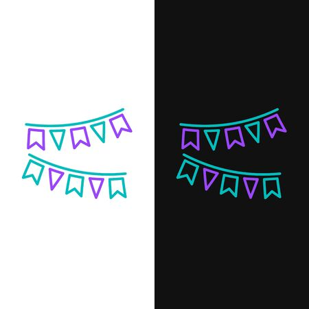 Green and purple line Carnival garland with flags icon isolated on white and black background. Party pennants for birthday celebration, festival and fair decoration. Vector Illustration