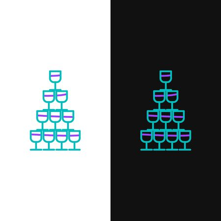 Green and purple line Wine glasses stacked in a pyramid tower icon isolated on white and black background. Wineglass sign. Vector Illustration