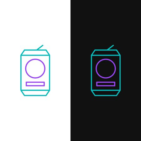 Green and purple line Beer can icon isolated on white and black background. Vector Illustration