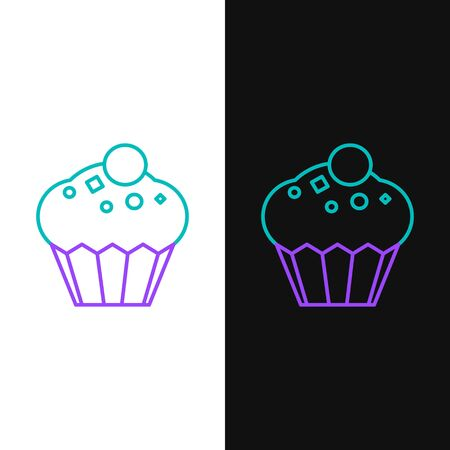 Green and purple line Muffin icon isolated on white and black background. Vector Illustration