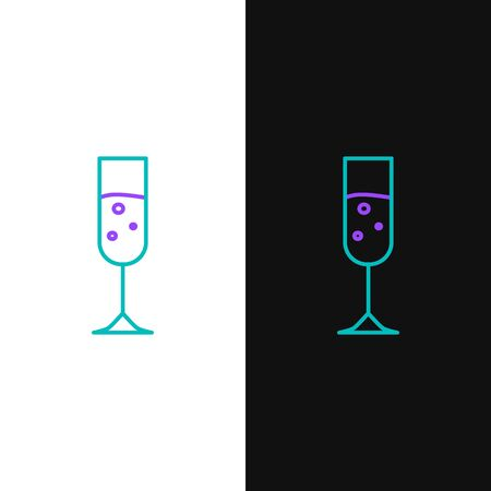 Green and purple line Glass of champagne icon isolated on white and black background. Vector Illustration