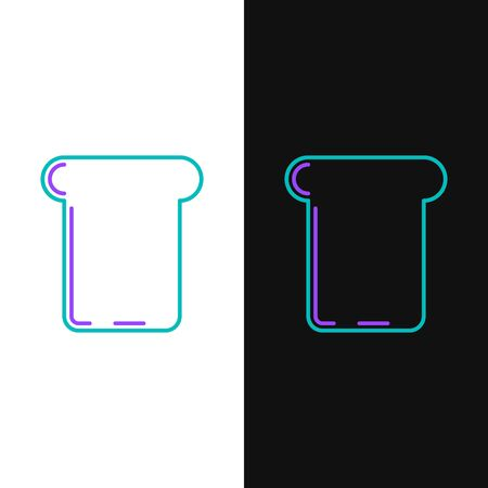 Green and purple line Bread toast for sandwich piece of roasted crouton icon isolated on white and black background. Lunch, dinner, breakfast snack. Vector Illustration