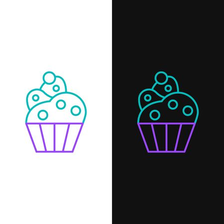 Green and purple line Cupcake icon isolated on white and black background. Vector Illustration