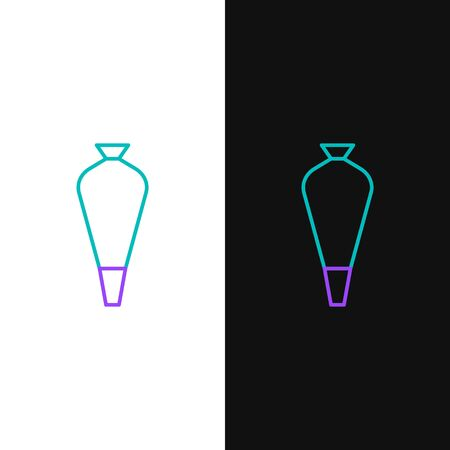 Green and purple line Pastry bag for decorate cakes with cream icon isolated on white and black background. Kitchenware and utensils. Vector Illustration Illustration