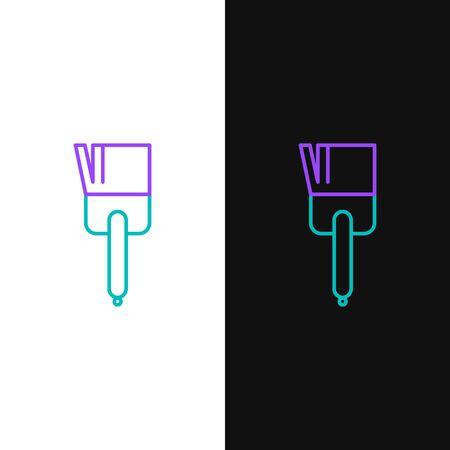 Green and purple line Kitchen brush icon isolated on white and black background. Vector Illustration Ilustracja