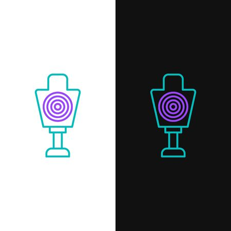 Green and purple line Human target sport for shooting icon isolated on white and black background. Clean target with numbers for shooting range or shooting. Vector Illustration