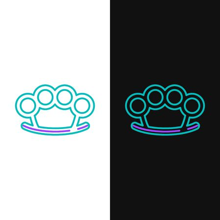 Green and purple line Brass knuckles icon isolated on white and black background. Vector Illustration Vettoriali