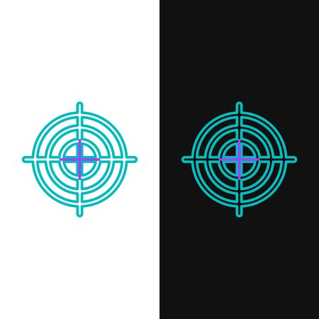 Green and purple line Target sport for shooting competition icon isolated on white and black background. Clean target with numbers for shooting range or shooting. Vector Illustration 向量圖像