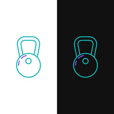 Green and purple line Kettlebell icon isolated on white and black background. Vector Illustration