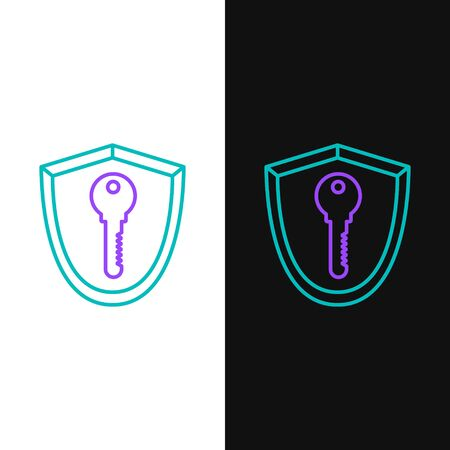 Green and purple line Shield with key icon isolated on white and black background. Protection and security concept. Safety badge icon. Privacy banner. Defense tag. Vector Illustration Çizim