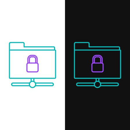 Green and purple line FTP folder and lock icon isolated on white and black background. Concept of software update. Security, safety, protection concept. Vector Illustration