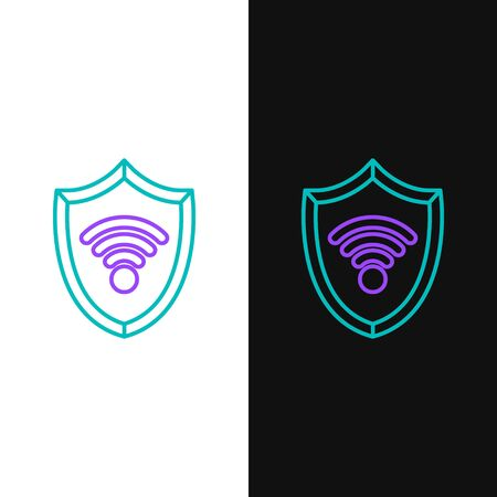 Green and purple line Shield with WiFi wireless internet network symbol icon isolated on white and black background. Protection safety concept. Vector Illustration