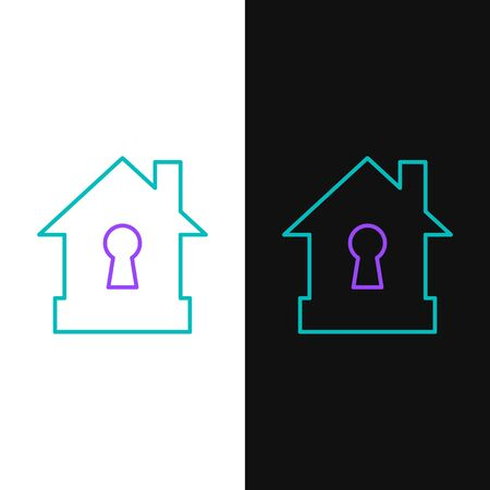 Green and purple line House under protection icon isolated on white and black background. Protection, safety, security, protect, defense concept. Vector Illustration