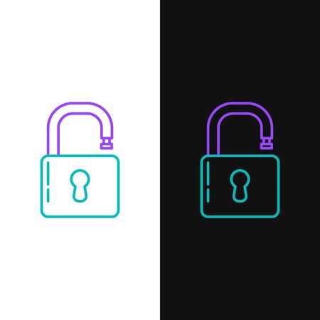 Green and purple line Open padlock icon isolated on white and black background. Opened lock sign. Cyber security concept. Digital data protection. Safety safety. Vector Illustration Illusztráció