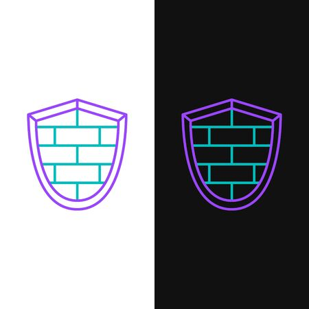 Green and purple line Shield with cyber security brick wall icon isolated on white and black background. Data protection symbol.