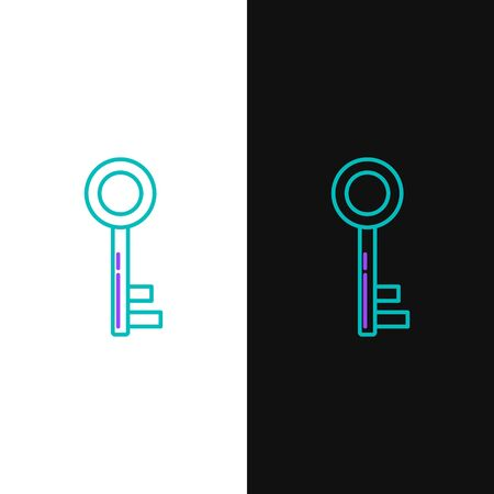 Green and purple line Key icon isolated on white and black background. Vector Illustration