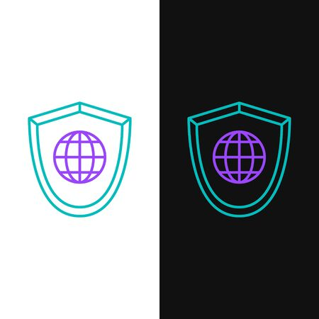Green and purple line Shield with world globe icon isolated on white and black background. Security, safety, protection, privacy concept. Vector Illustration
