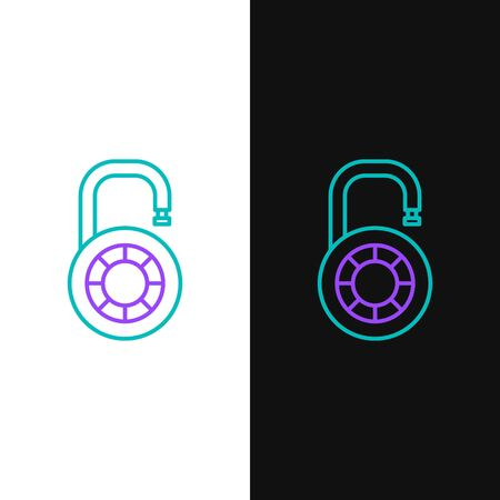 Green and purple line Safe combination lock wheel icon isolated on white and black background. Combination padlock. Security, safety, protection, password, privacy. Vector Illustration