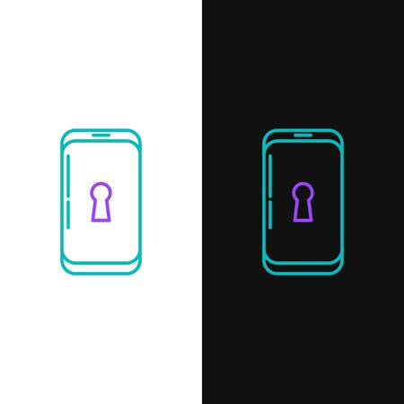 Green and purple line Smartphone with lock icon isolated on white and black background. Phone with lock. Mobile security, safety, protection concept. Vector Illustration