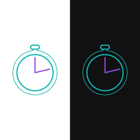 Green and purple line Stopwatch icon isolated on white and black background. Time timer sign. Vector Illustration