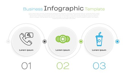 Set line Food ordering pizza, Donut with sweet glaze and Paper glass with drinking straw and water. Business infographic template. Vector