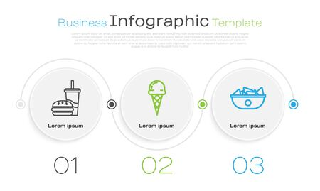 Set line Paper glass with drinking straw and burger, Ice cream in waffle cone and Nachos in plate. Business infographic template. Vector Illustration