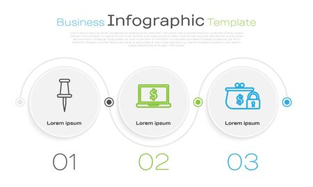 Set line Push pin, Laptop with dollar symbol and Closed wallet with lock. Business infographic template. Vector Çizim
