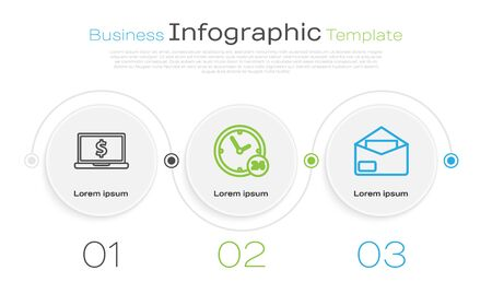 Set line Laptop with dollar symbol, Clock 24 hours and Envelope. Business infographic template. Vector