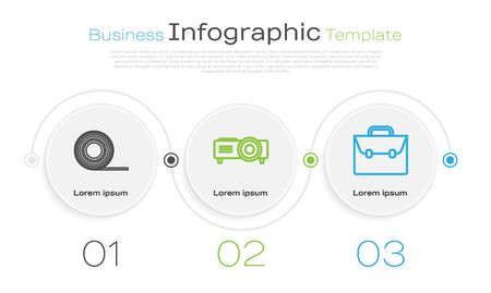 Set line Scotch, Presentation, movie, film, media projector and Briefcase. Business infographic template. Vector Ilustração