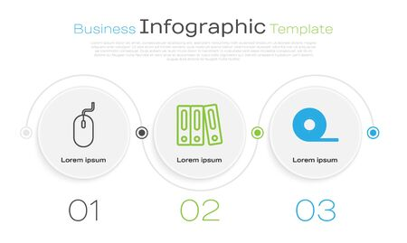 Set line Computer mouse, Office folders with papers and documents and Scotch. Business infographic template. Vector Ilustração