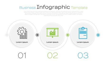 Set line Pie chart infographic, Board with graph chart and Document. Business infographic template. Vector