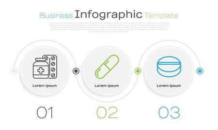 Set line Medicine bottle and pills, Medicine pill or tablet and Medicine pill or tablet. Business infographic template. Vector