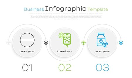 Set line Medicine pill or tablet, IV bag and Medicine bottle and pills. Business infographic template. Vector