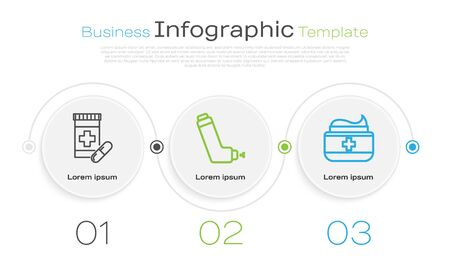 Set line Medicine bottle and pills, Inhaler and Ointment cream tube medicine. Business infographic template. Vector