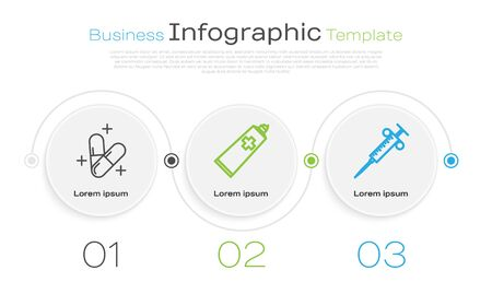 Set line Medicine pill or tablet, Ointment cream tube medicine and Syringe. Business infographic template. Vector