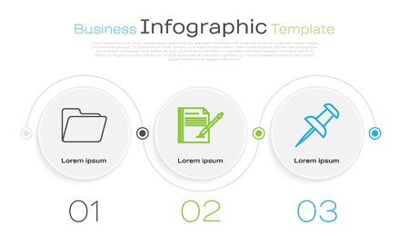 Set line Document folder, Blank notebook and pen and Push pin. Business infographic template. Vector