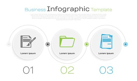 Set line Blank notebook and pen, Document folder and File document. Business infographic template. Vector