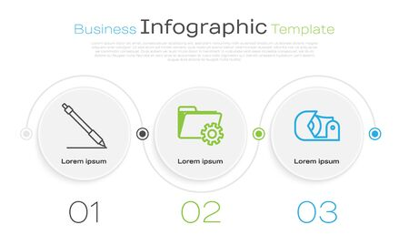 Set line Pen line, Folder settings with gears and Scotch. Business infographic template. Vector Ilustração