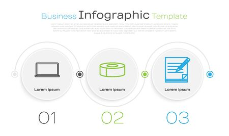 Set line Laptop, Scotch and Blank notebook and pencil with eraser. Business infographic template. Vector Ilustração