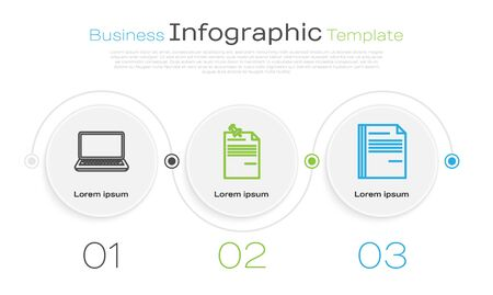 Set line Laptop, Note paper with pinned pushbutton and File document. Business infographic template. Vector