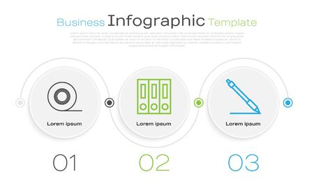 Set line Scotch, Office folders with papers and documents and Pen line. Business infographic template. Vector